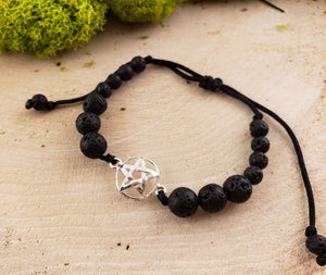 Lava Rock Pentagram Sterling Silver Bracelet Gemstone Jewelry