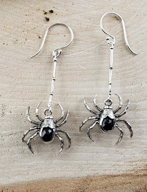 Obsidian Spider Gemstone Sterling Silver Earrings Jewelry