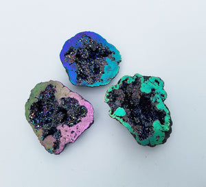Rainbow Aura Quartz Gemstone Geode Natural Stones