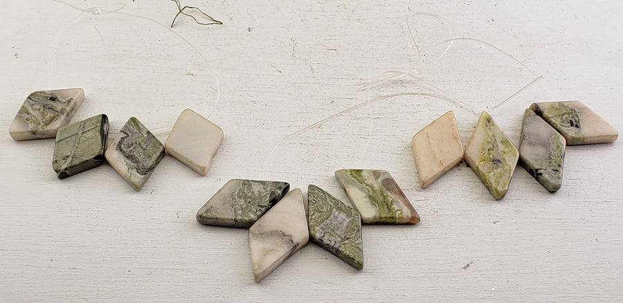 Green Earth Jasper Polished Gemstone Diamond Shaped Bead Strands