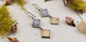 Blue Lace Agate & Ivory Agate Sterling Silver Earrings