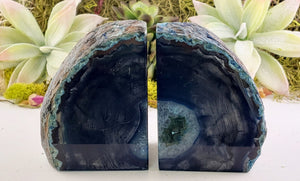 Blue Agate Crystal Gemstone Bookends Carvings