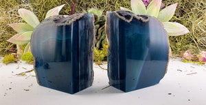 Blue Agate Gemstone Bookends Carvings