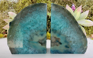 Blue Agate Crystal Druzy Gemstone Bookends Carvings