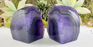 Purple Agate Gemstone Crystal Bookends Carvings