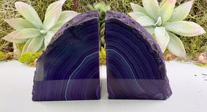 Purple Agate Gemstone Crystal Druzy Bookends Carvings