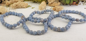Angelite Gemstone Polished Bracelet