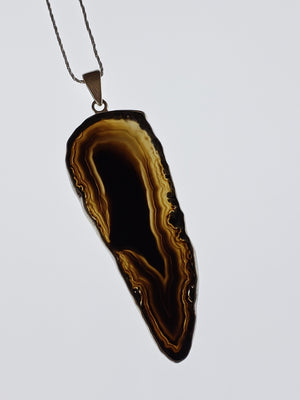 Banded Agate Gemstone Sterling Silver Pendant Jewelry