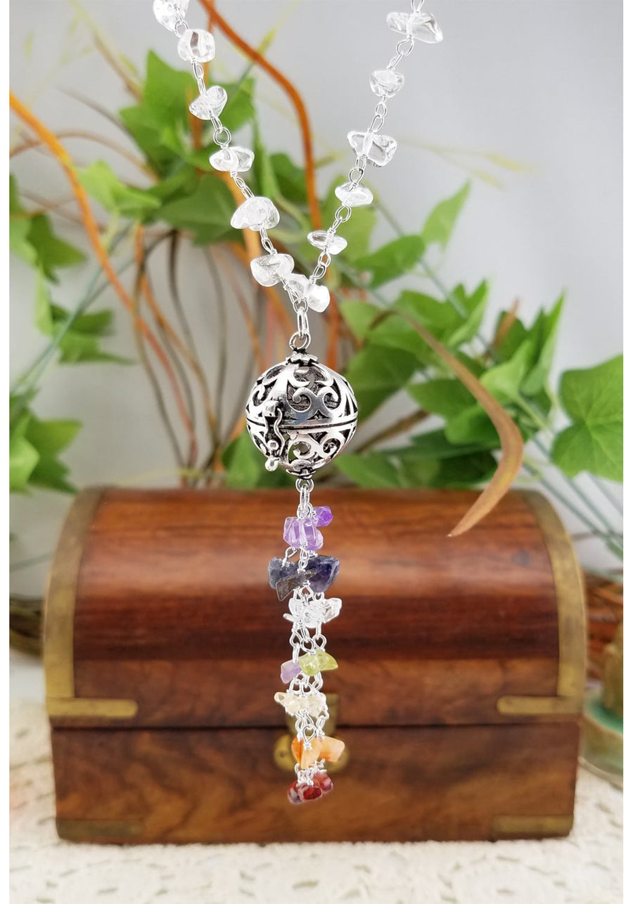 Quartz Crystal Chakra Wish Necklace Gemstone Jewelry