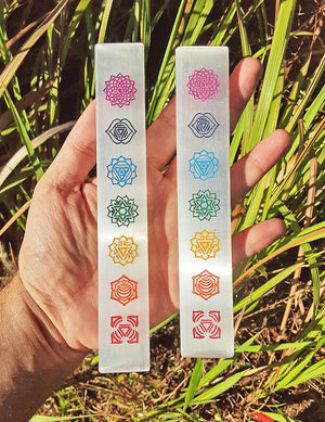 Selenite Gemstone Seven Chakra Charging Ruler & Plate