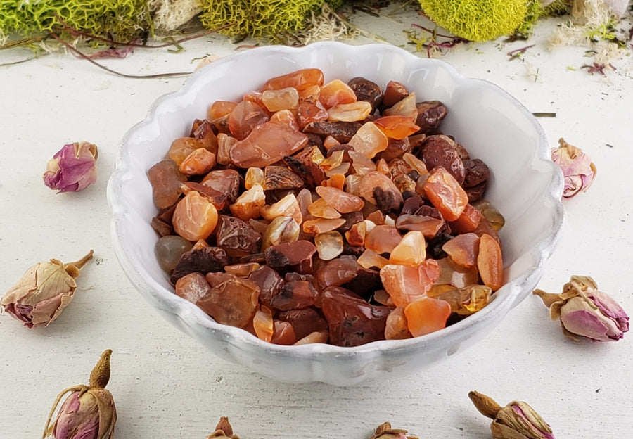 Carnelian Gemstone Chips - 1 Oz. Bag Tumbled Gemstones