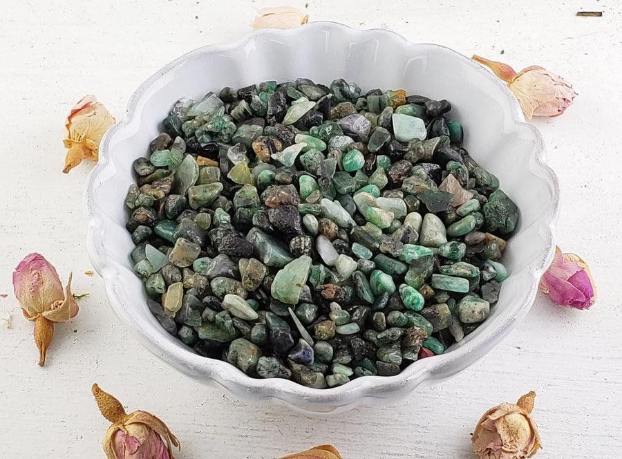 Emerald Gemstone Chips- 1 Oz. Bag Tumbled Gemstones
