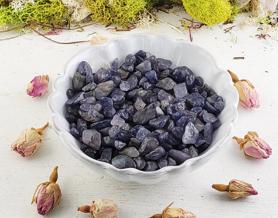 Iolite Gemstone Chips - 1 Oz. Bag Tumbled Gemstones