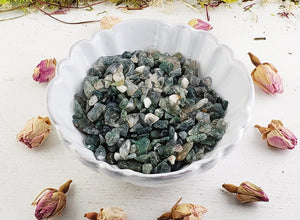Moss Agate Gemstone Chips - 1 Oz. Bag Tumbled Gemstones