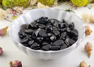 Black Obsidian Gemstone Chips- 1 Oz. Bag Tumbled Gemstones