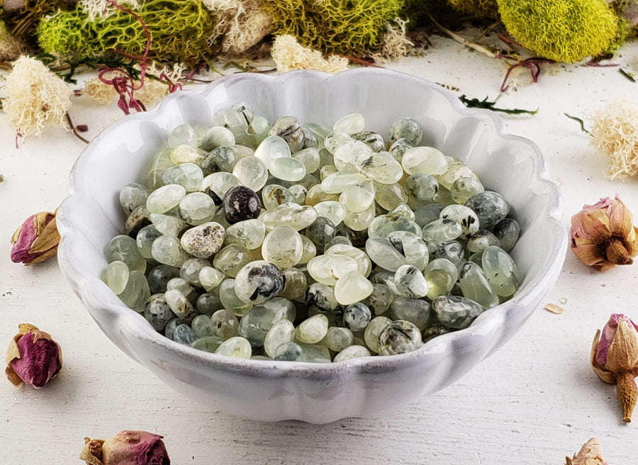 Prehnite And Epidote Gemstone Chips- 1 Oz. Bag Tumbled Gemstones