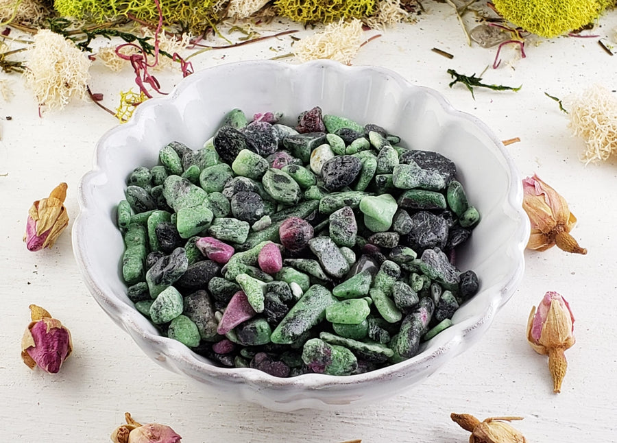 Ruby Zoisite Gemstone Chips- 1 Oz. Bag Tumbled Gemstones