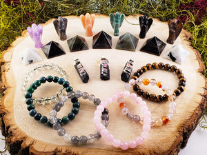 Perfect Gemstone Collector Holiday Gift Set - Angel Pyramid Pendant & Bracelet Carvings