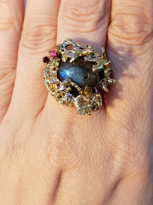 Sterling Silver & Labradorite Gemstone Ring Jewelry