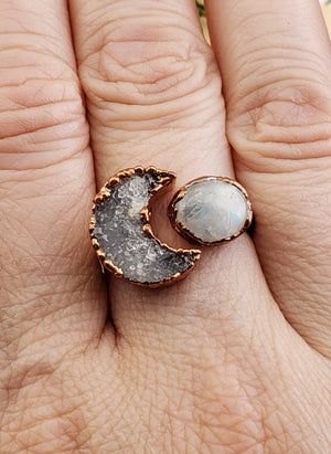 Copper Crescent Moon Ring with Rainbow Moonstone