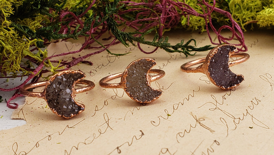 Copper Crescent Moon Ring
