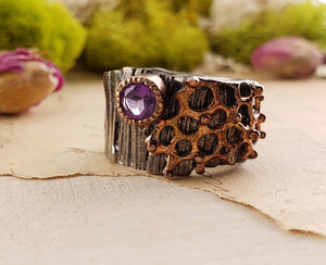 Sterling Silver & Amethyst Gemstone Ring - Pixie Fern Jewelry