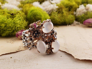 Sterling Silver & Moonstone Gemstone Floral Ring Jewelry