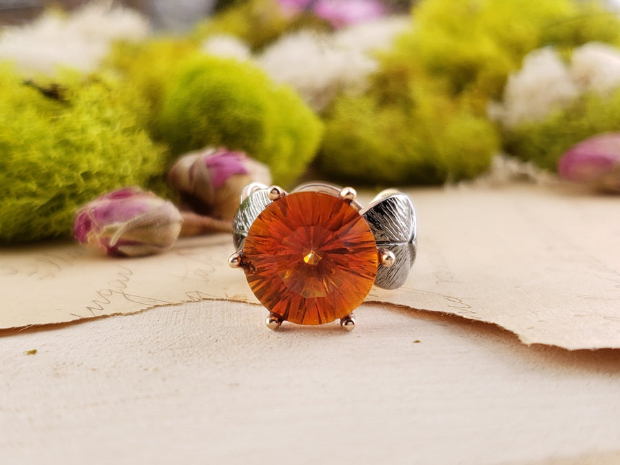 Sterling Silver & Azotic Topaz Gemstone Ring - Sunrise Ice Jewelry