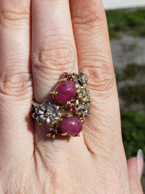 Sterling Silver & Ruby Gemstone Floral Ring Jewelry