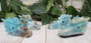 Amazonite Gemstone Polished Dragon carving