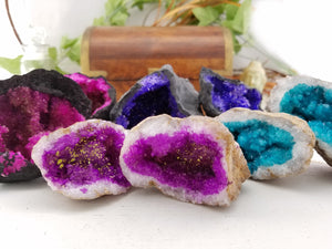 Dyed Gemstone Geode Druzy Crystal - Small Natural Stones