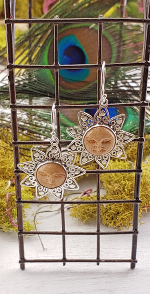 Bone Sun Sterling Silver Earrings