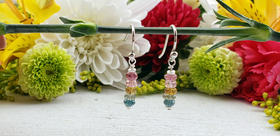 Multi Tourmaline Faceted Bead Mini Sterling Earrings