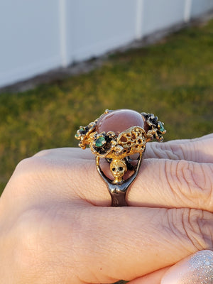 Sterling Silver & Goldstone And Emerald Gemstone Floral Ring Jewelry