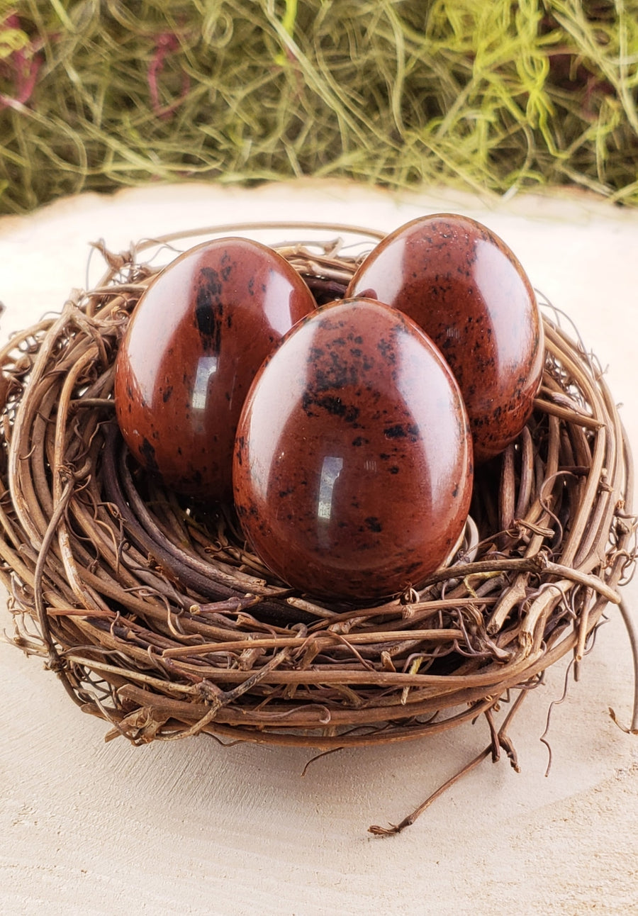 Mahogany Obsidian Gemstone Egg Carvings