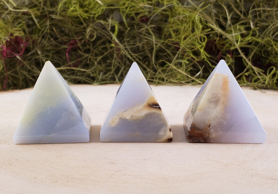 Fancy Chalcedony Gemstone Pyramid Pyramids