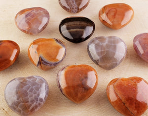 Fire Agate Polished Gemstone Heart Carvings