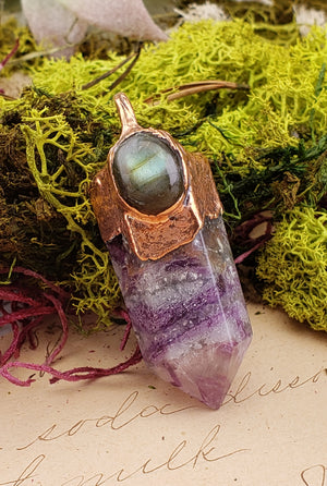 Copper Fluorite Point Pendant with Labradorite Gemstone