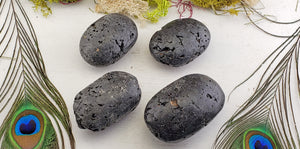 Lava Stone Rock Gemstone Palm Meditation Stone