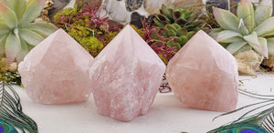 Rose Quartz Natural Gemstone Rough Tower