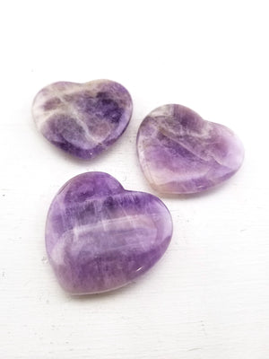 Amethyst Polished Gemstone Heart Carving Carvings