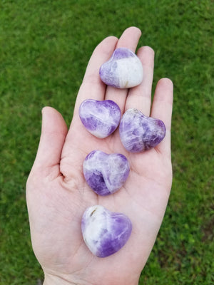Amethyst Polished Gemstone Puffy Heart Carving - Small Carvings