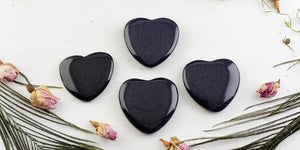 Blue Goldstone Polished Gemstone Heart Carvings