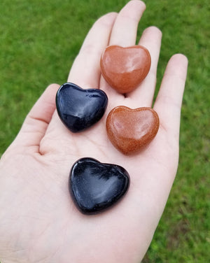 Blue Or Red Goldstone Polished Gemstone Puffy Heart Carving - Small Carvings