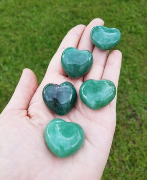 Green Aventurine Polished Gemstone Puffy Heart Carving - Small Carvings