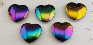 Rainbow Titanium Quartz Flat 45mm Gemstone Heart