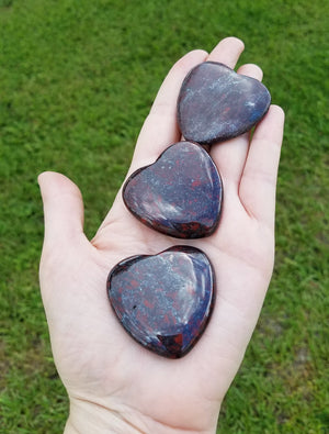 Red Jasper & Hematite Polished Gemstone Heart Carving Carvings
