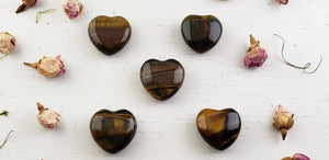 Tiger Eye Polished Gemstone Puffy Heart Carving - Small Carvings