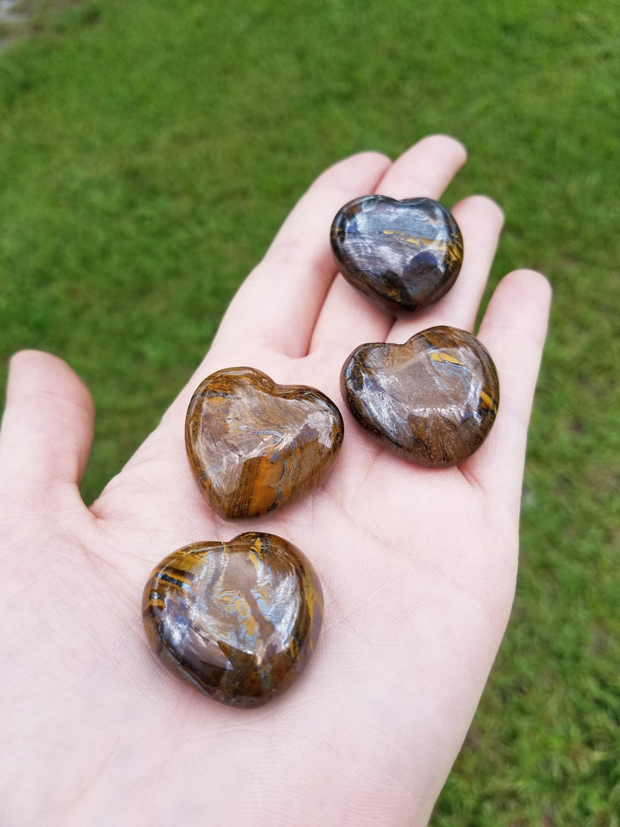 Tiger Iron Polished Gemstone Puffy Heart Carving - Small Carvings