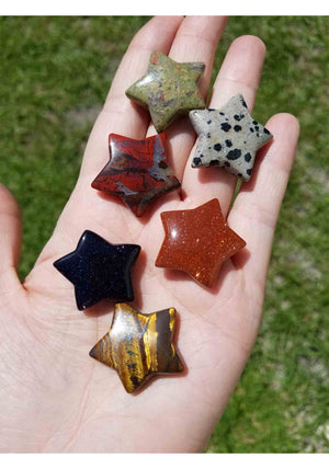 30Mm Gemstone Star Carvings